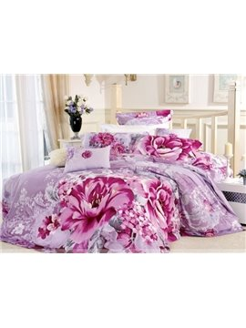 Purple 4 Piece Cotton Bedding Sets with Aesthete Pink Large Flowers