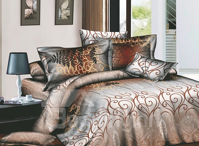Brown Arabesque 4-Piece Active Print Bedding Sets with Cotton