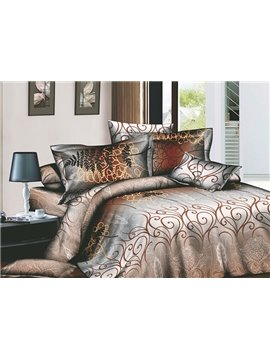 Attractive Brown Arabesque 4 Piece Active Print Bedding Sets with Cotton