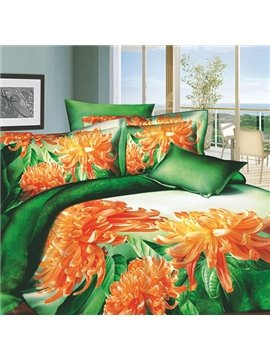 King Size Smashing Flowers Printed 4 Piece Cotton Duvet Cover Sets