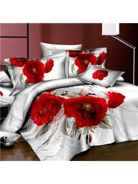 Attractive Fiery-red Flowers 4 Piece Active Print Bedding Sets with Cotton