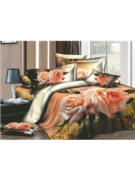 Beauty Vivid Pink Rose 4 Piece Cotton Bedding Sets with Printing