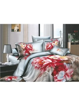 Modern Chinese Ink Active Printed 4 Piece Cotton Duvet Cover Sets