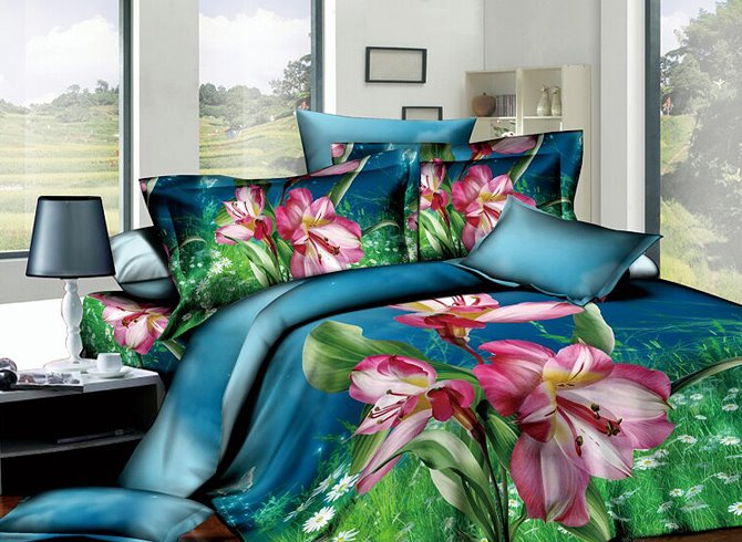 Likesome Kaffir Lily 3D Printed Blue 4-Piece Cotton Duvet Cover Sets