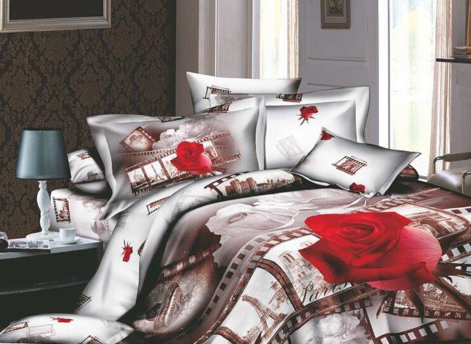 European Style Red Rose Print 4-Piece Cotton Duvet Cover Sets