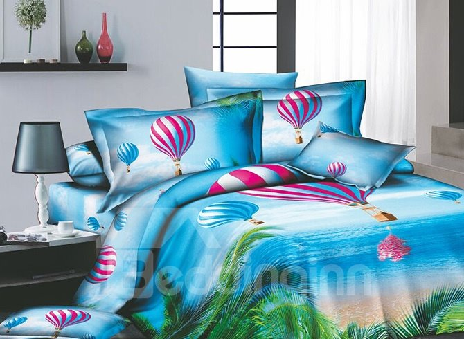 Cerulean Tropical beach Printed 4 Piece Cotton Bedding Sets with Colorful Hot-air Balloon