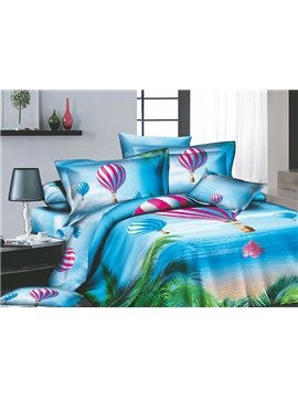 Cerulean Tropical beach Printed 4 Piece Cotton Bedding Sets with Colorful Hot-air Balloon (10486340)