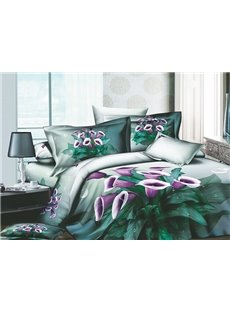 Vivid Purple Petunia 4 Piece Active Print Duvet Cover Sets with Printing