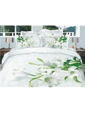 Dignified White Lilies Active Printed 4 Piece Cotton Duvet Cover Sets