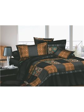 Vintage Grey and Beige Pattern 4 Piece Cotton Bedding Sets with Printing