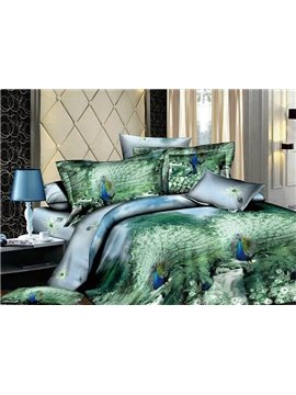 Super Charming Green Printed 4 Piece Cotton Duvet Cover Sets with Peafowl
