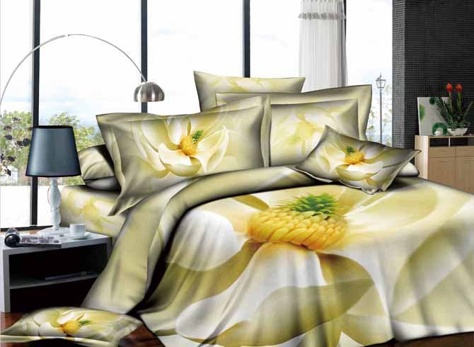 Unaffected Beige Flowers Printed 4 Piece 100 Percent Duvet Cover Sets