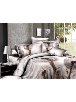 Pristine Beauty Dandelions 4 Piece Active Print Bedding Sets with Cotton