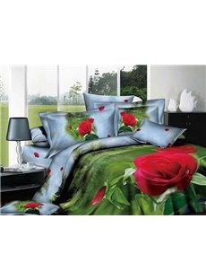 Flesh Green Printed 4 Piece 100 Percent Cotton Bedding Sets with Red Flowers