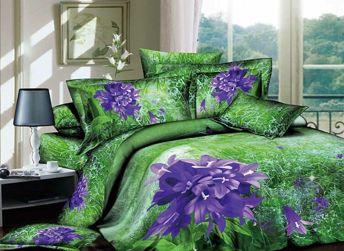 Flower floral bedding set purple green queenjpg bed - Green and purple comforter ...