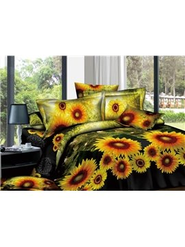 Camouflage Sunflowers Active Printed 4 Piece Cotton Duvet Cover Sets