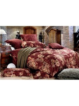 Costume and Soft Brown 4 Piece Cotton Bedding Sets with Flowers Printing
