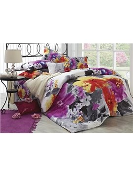 Modern Chinese Ink and Wash Printed 4 Piece Duvet Cover Sets with Cotton