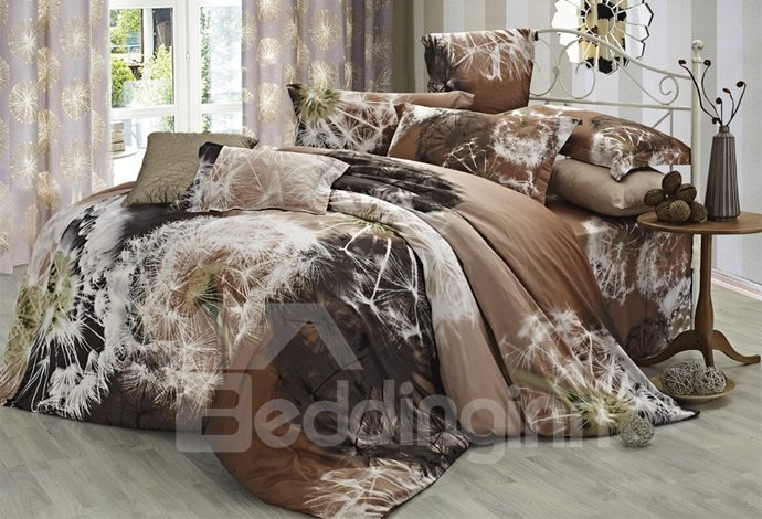 Wonderful Light Brown 4 Piece Cotton Bedding Sets with Dandelion Printing