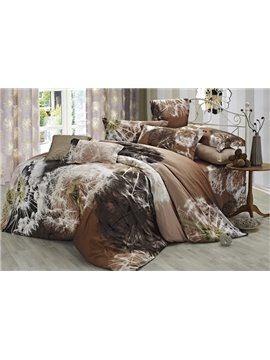 Wonderful Light Brown 4 Piece Cotton Comforter Sets with Dandelion Printing