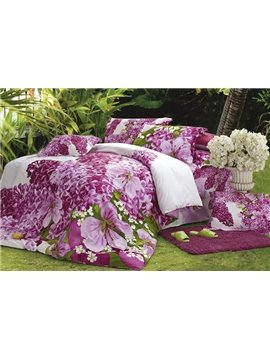 Charming Pink Florals 4 Piece Active Print Bedding Sets with Cotton