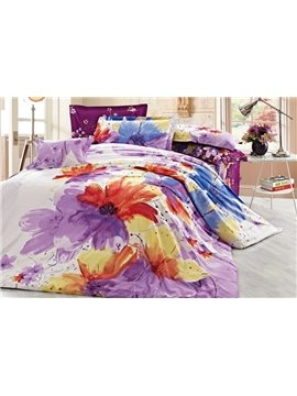 Beauty Color Watermark Image 4 Piece Cotton Duvet Cover Sets with Printing
