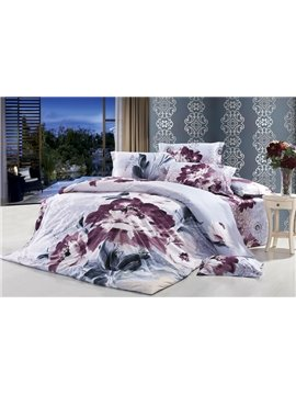 Kermesinus Chinese Ink 4 Piece Cotton Duvet Cover Sets with Printing (10486411)