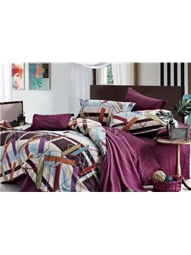 Unique Colorful Stripes 4 Piece Cotton Bedding Sets with Printing