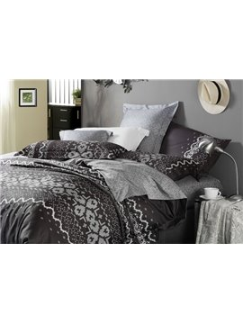 Elegant Black Printed 4 Piece Cotton Bedding Sets with Fashion Pattern (10486434)