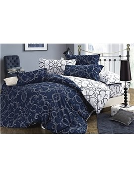 Stylish Blue Pattern 4 Piece 100% Cotton Bedding Sets with Printing