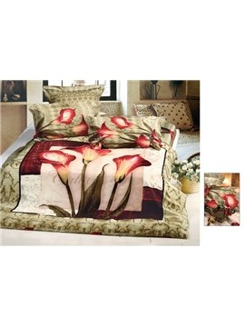Exquisite 4 Piece Cotton Bedding Sets with Red Calla Lily Printing (10486482)