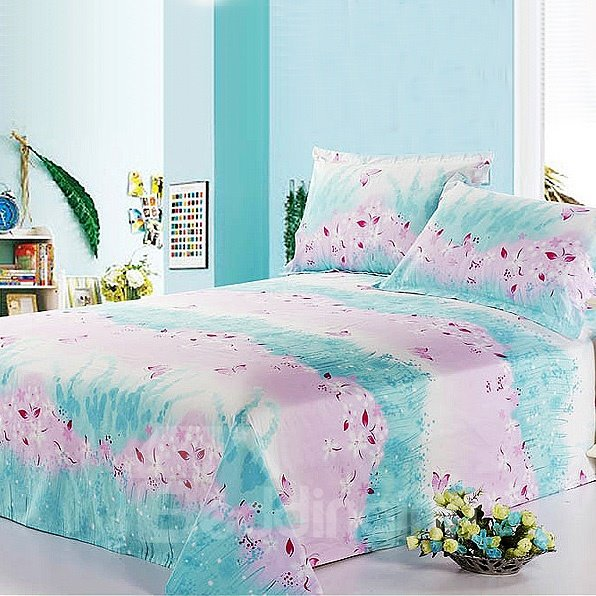 Villatic Light Blue and Pink Floral Printed Cotton Sheet