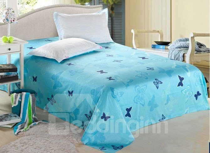 Dreamlike Blue Butterflies Wash Printed Cotton Sheet (10486546)