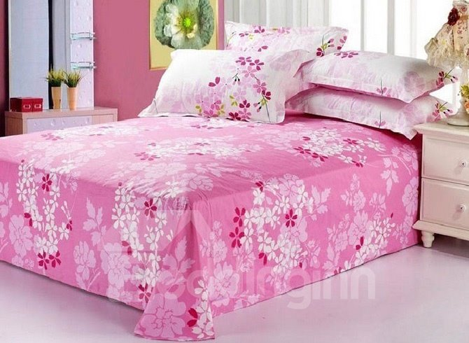 Hot Selling Pink Florals Printed Cotton Sheet