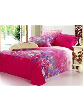 Attractive Rose-red Florals Active Printed Cotton Sheet (10486582)