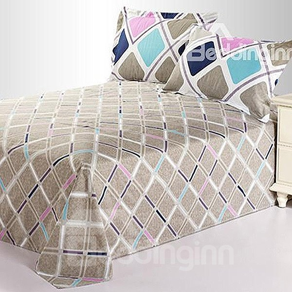 Romantic Gray Rhombus Colorful Stripe Cotton Sheet
