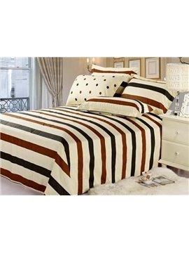 Comfortable Brown and Black Stripe Cotton Sheet