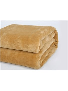 Solid Color Bright Camel Thick Flannel Skincare Blanket
