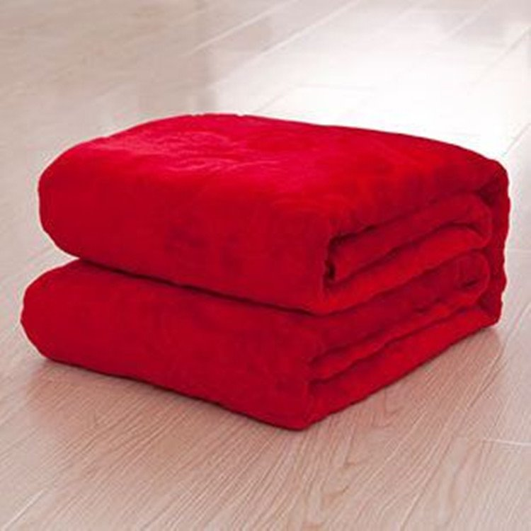 Bright Red Coral Fleece Blanket with Stereo Pattern