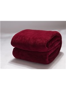 Solid Color Deep Wine Red Thick Flannel Blanket