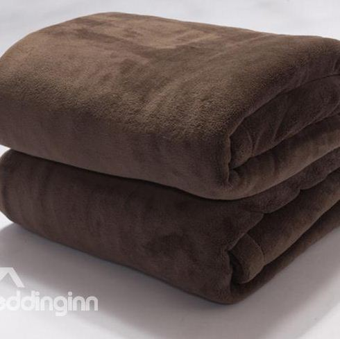 Solid Color Coffee Thick Flannel Skincare Blanket
