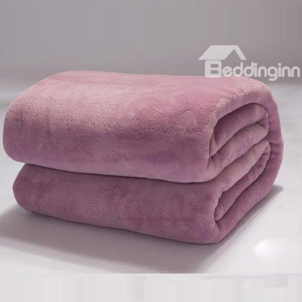 Florid Solid-colored Light Purple Thick Flannel Blanket