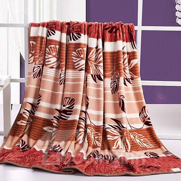 Flying Brown Leaves and Stripes Printed Flannel Blanket