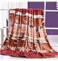 Flying Brown Leaves and Stripes Printed Flannel Blanket