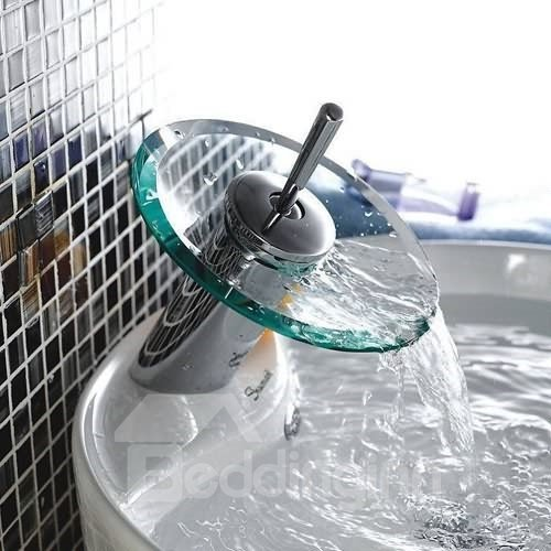 Single Handle Chrome and Glass Bathroom Sink Basin Faucet (10486947)