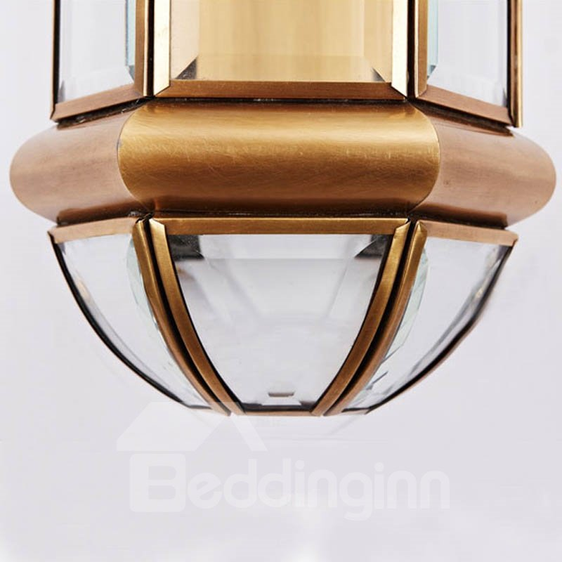 Modern Copper and Glass Deluxe with 1 Light Wall Light