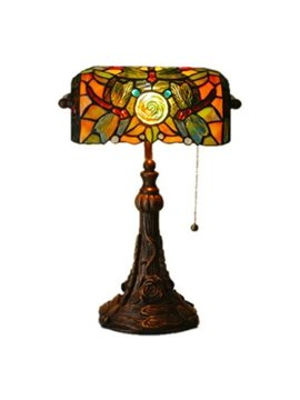Romantic Rose Tiffany Table Lamps in Dragonfly Pattern (10488693)