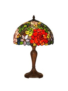 Beautiful Pastoral Artistic Tiffany Rose Pattern Table Lamp