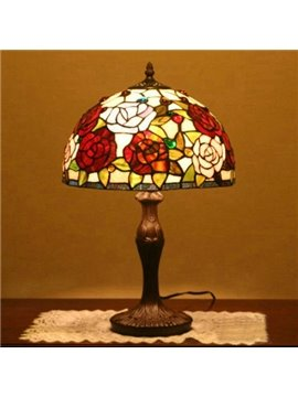 Luxury Tiffany Table Lamps with Colorful Rose Decoration