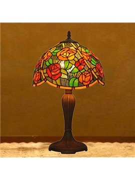 Luxury Art Tiffany Table Lamps with Cant Rose Decoration